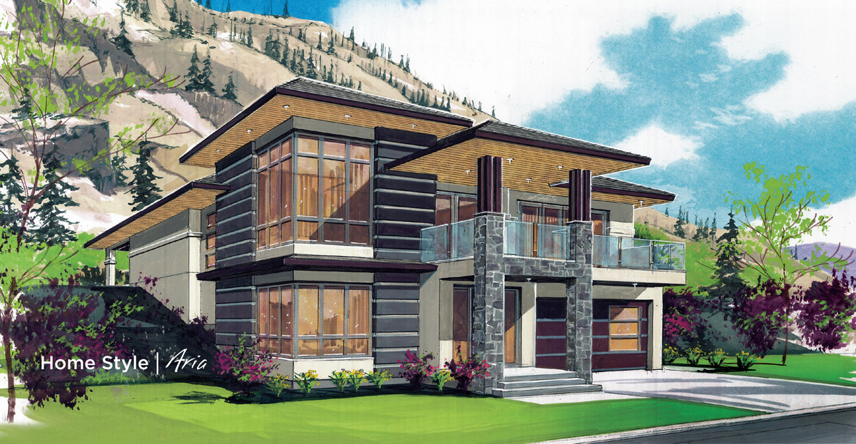 9 diverse architectural styles in kelowna s best community for Low pitch roof house plans